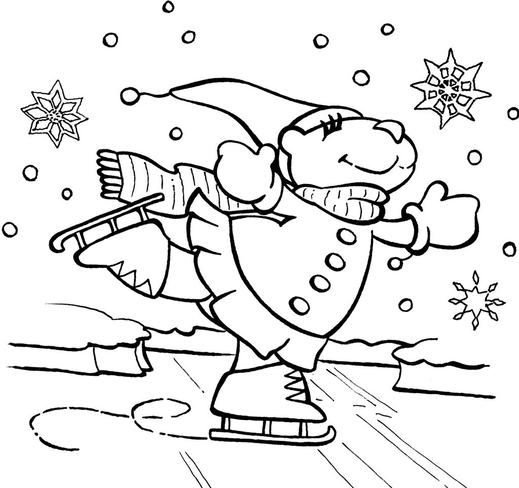 Bear Ice Skating Coloring Page | coloring pages | Pinterest
