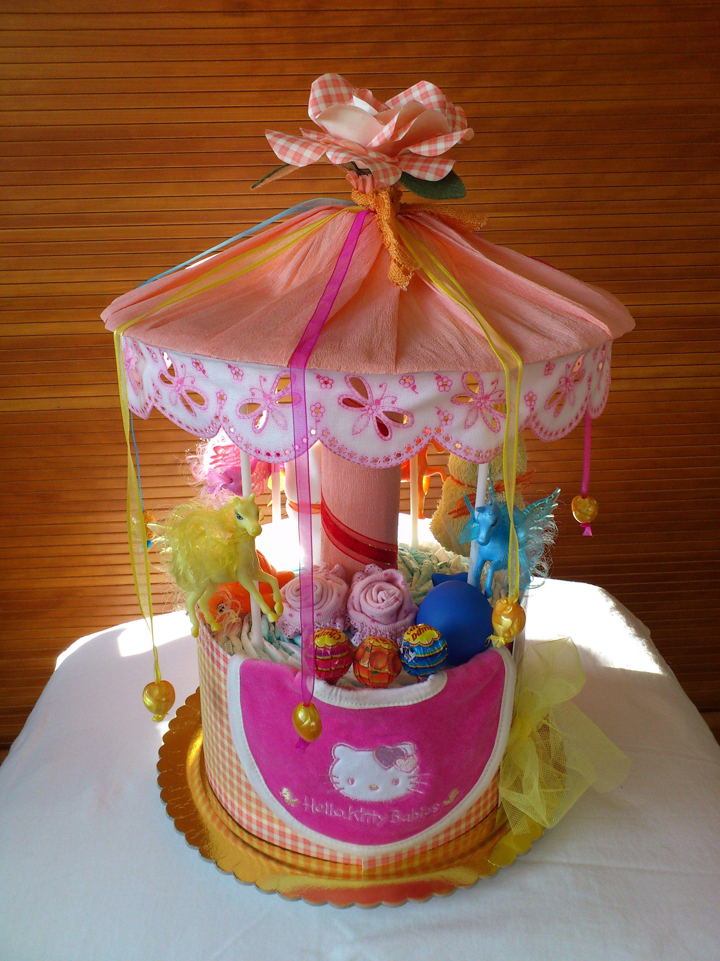 carousel diaper cakes - torta di pannolini