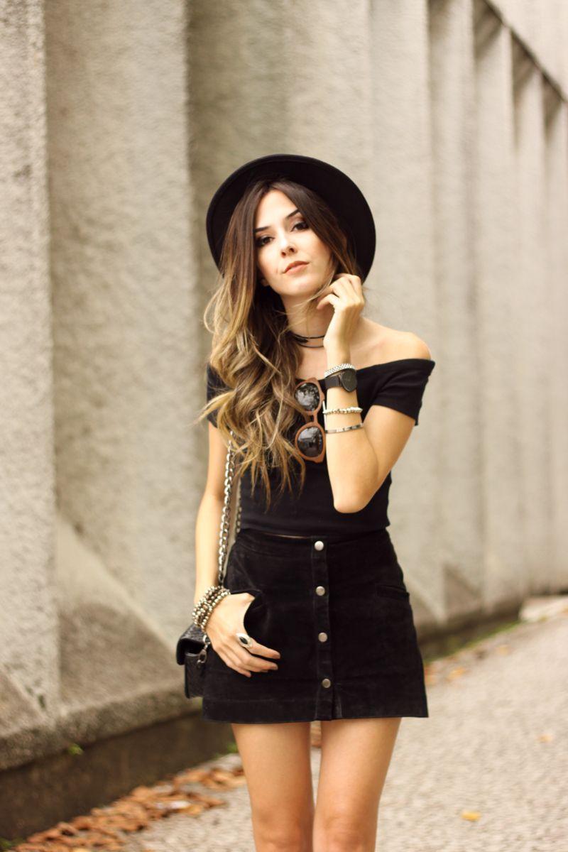 d8d19e53f2e FashionCoolture - 01.03.2016 look du jour all black lace up shoes button  front skirt (2)
