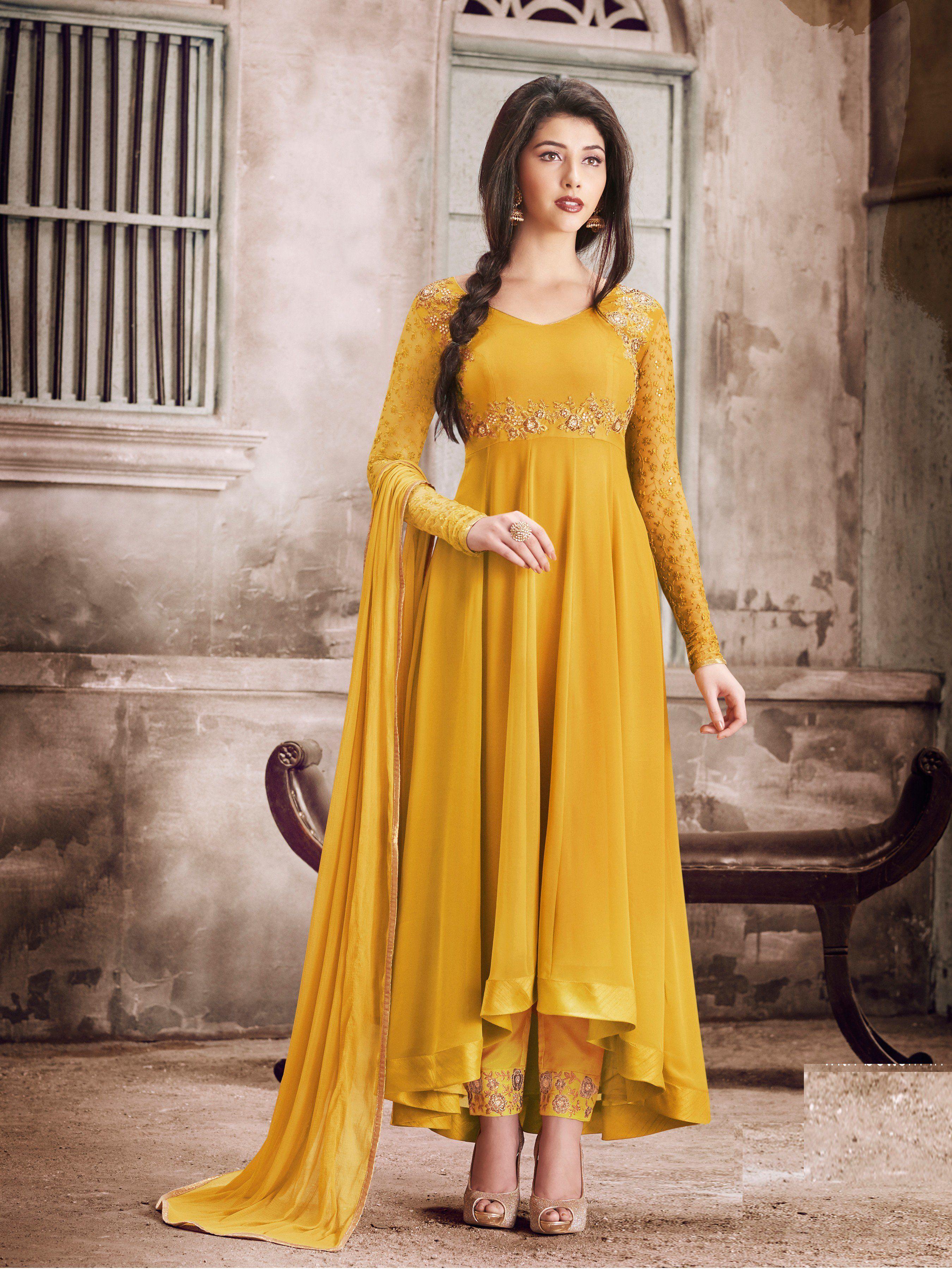 f959395f2d Faux Georgette Self Design Semi-stitched Salwar Suit Dupatta Material  (Musted )