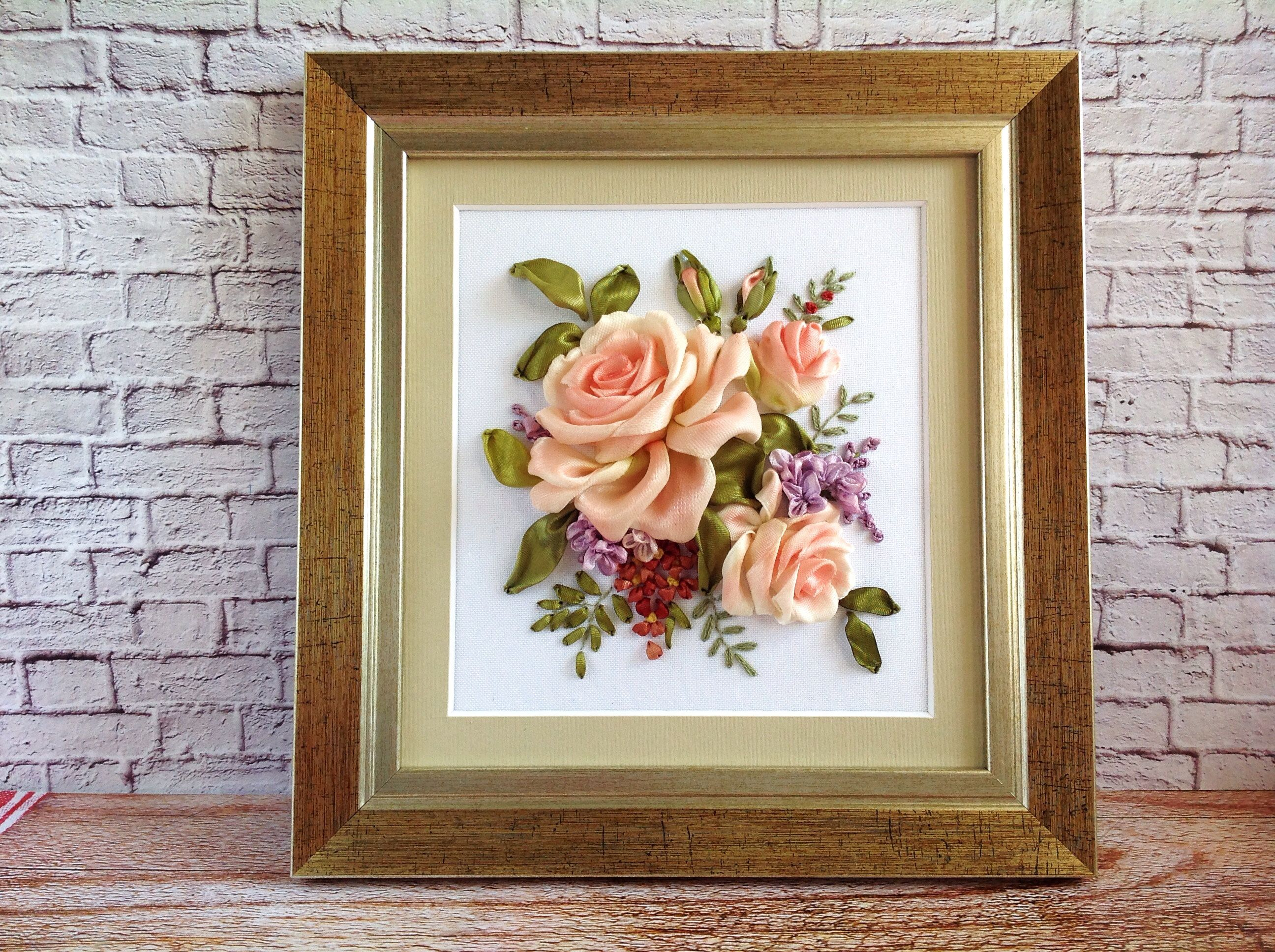 Pale Pink Roses 3d Framed Art Silk Ribbons Embroidered 8 Inch Etsy Small Framed Art Floral Wall Decor Floral Wall