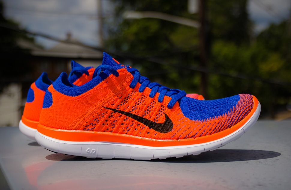 Men's Nike Free Flyknit 4.0 Game Royal Hyper Crimson Black Sneakers : J10m5998