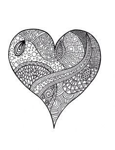 Heart Abstract Doodle Zentangle Coloring Pages Colouring Adult Detailed Advanced Printable Kleuren Voor Volwassenen Coloriage Pour Adulte Anti Stress