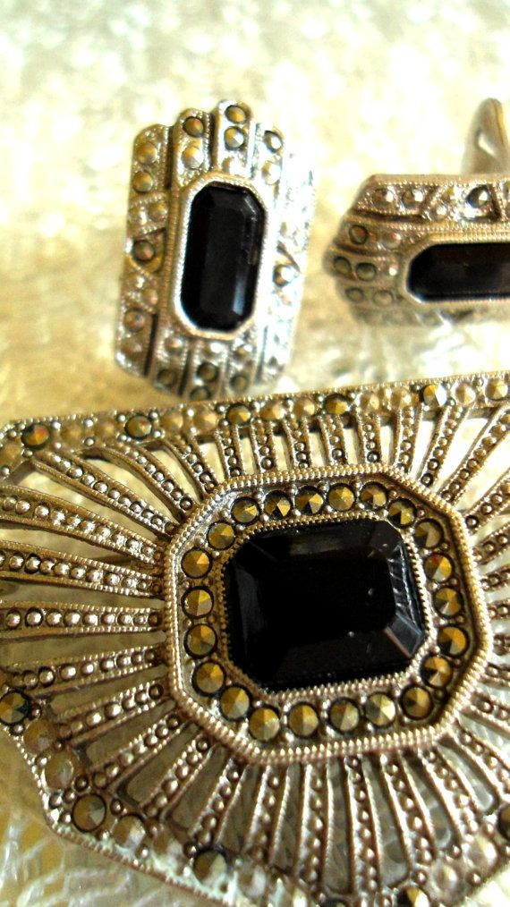 Vintage Art Deco Marcasite Onyx Brooch and Clip on Earrings