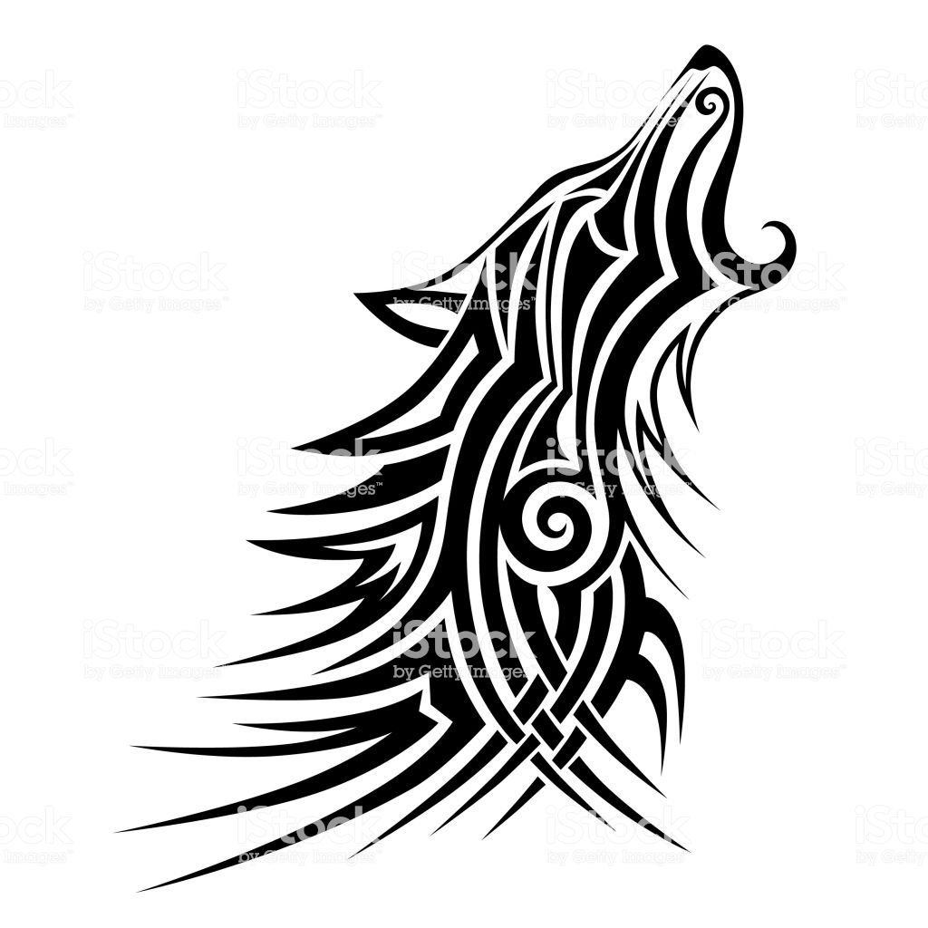 Wolf Tattoo Tribal Vector Design Sketch Simple Vector Howling Wolf On A White Background Royalty Free Wol In 2020 Tribal Wolf Tattoo Tribal Art Designs Tribal Wolf