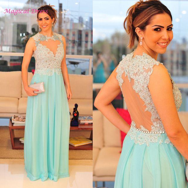 Mint Green Formal Evening Gowns Dresses Lace Open Back Abendkleider ...
