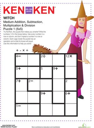 ken ken puzzle witch math math games math worksheets worksheets. Black Bedroom Furniture Sets. Home Design Ideas
