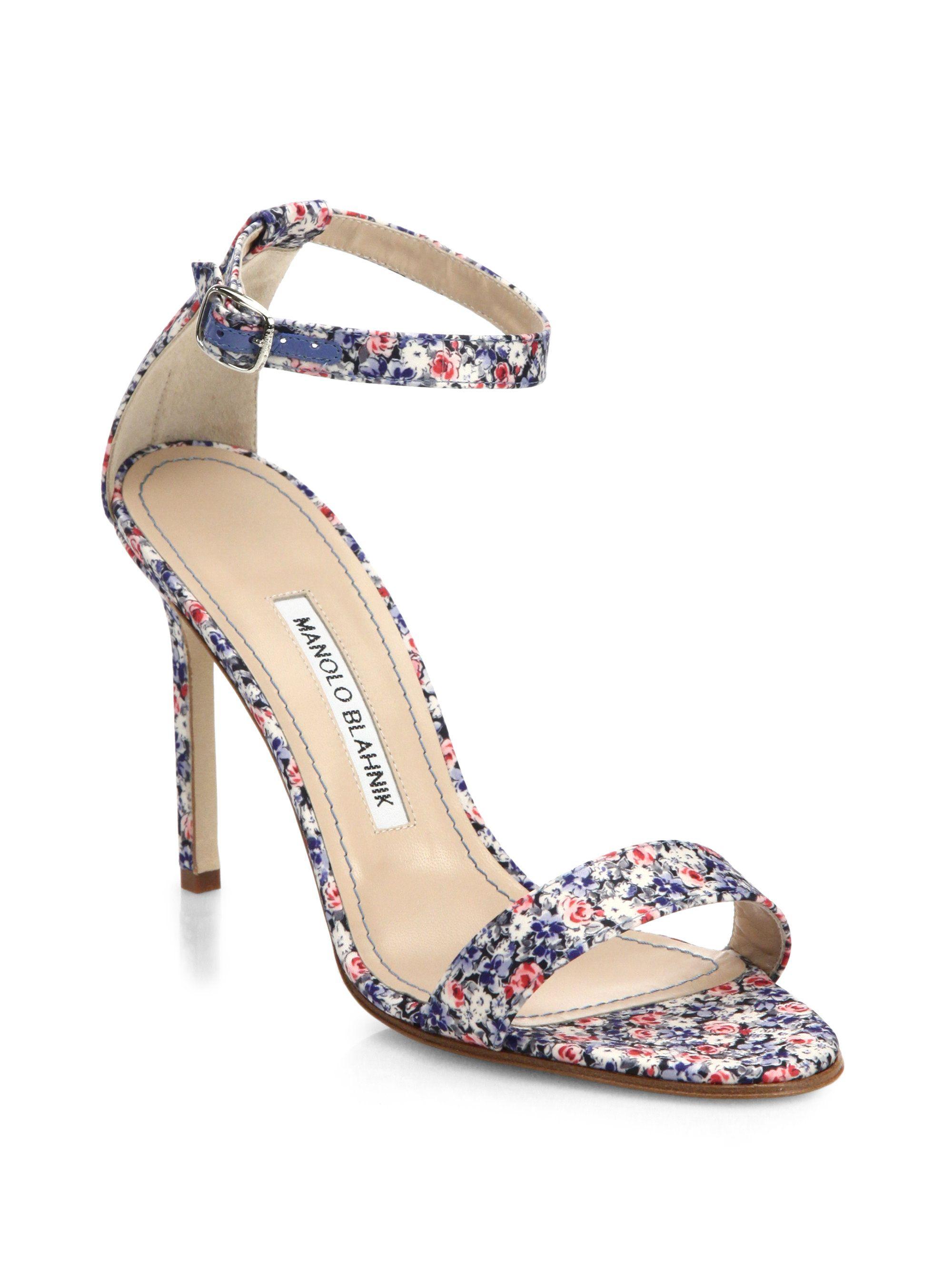 Manolo Blahnik Floral Ankle Strap Sandals cheap sale many kinds of cheap online AbNoI