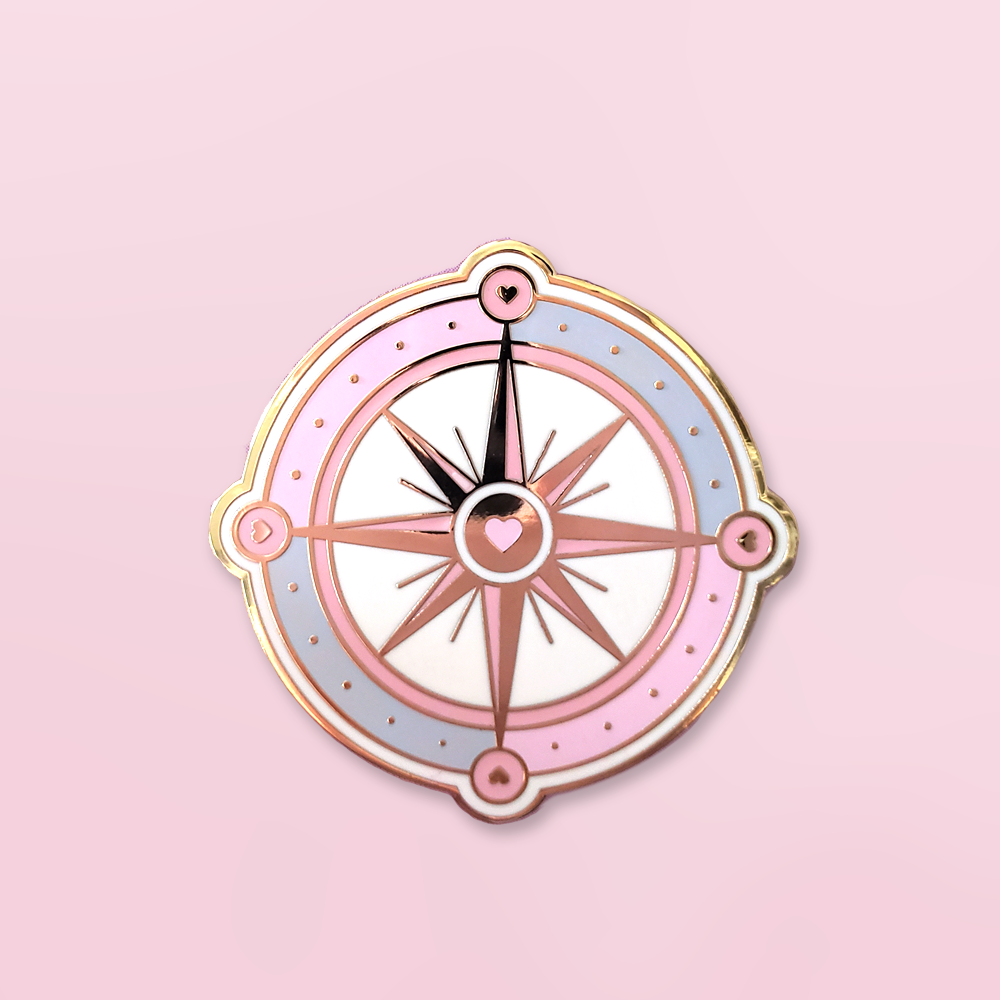 Follow Your Heart Compass Enamel Pin This Listing Is For 1 Pin 1 58 Tall Gold Plated Hard Enamel 2 Posts With Rubber Enamel Pins Pin Game Strong Pins