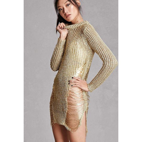 Forever21 Metallic Open-Knit Sweater ( 48) ❤ liked on Polyvore featuring  tops ab0f32d17