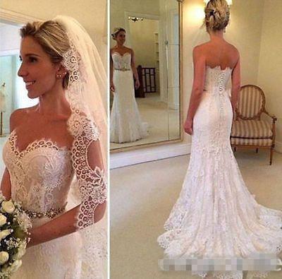 White//Ivory V neck Mermaid Wedding Dress Backless Bridal Gown Size4 6 8 10 12++