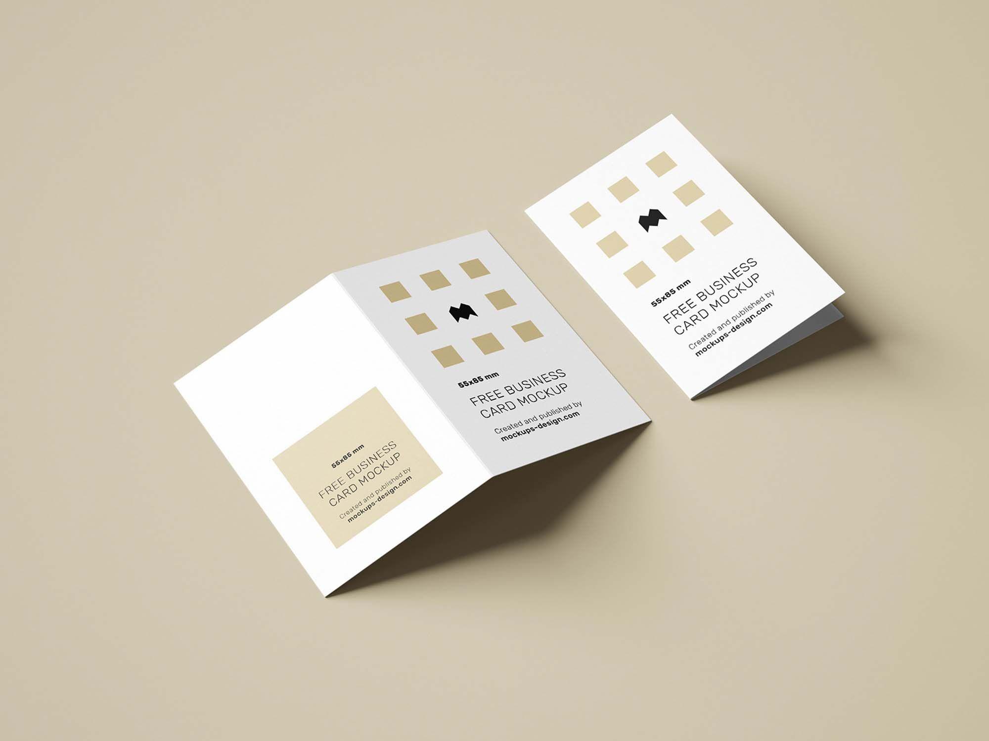 Folded business card mockup psd business cards mockup
