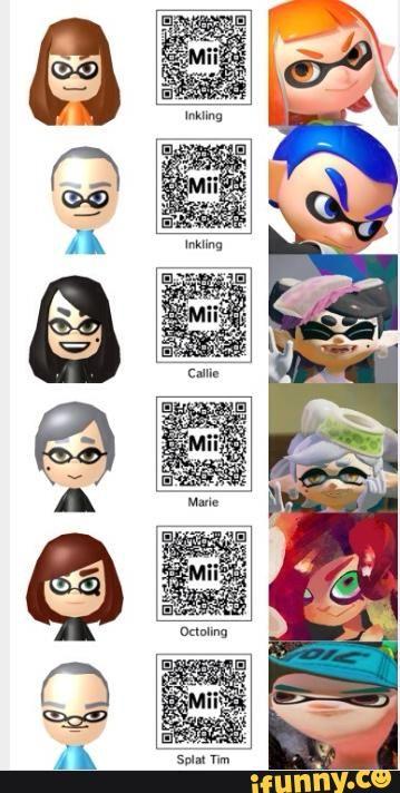 Splatoon Mii QR Codes