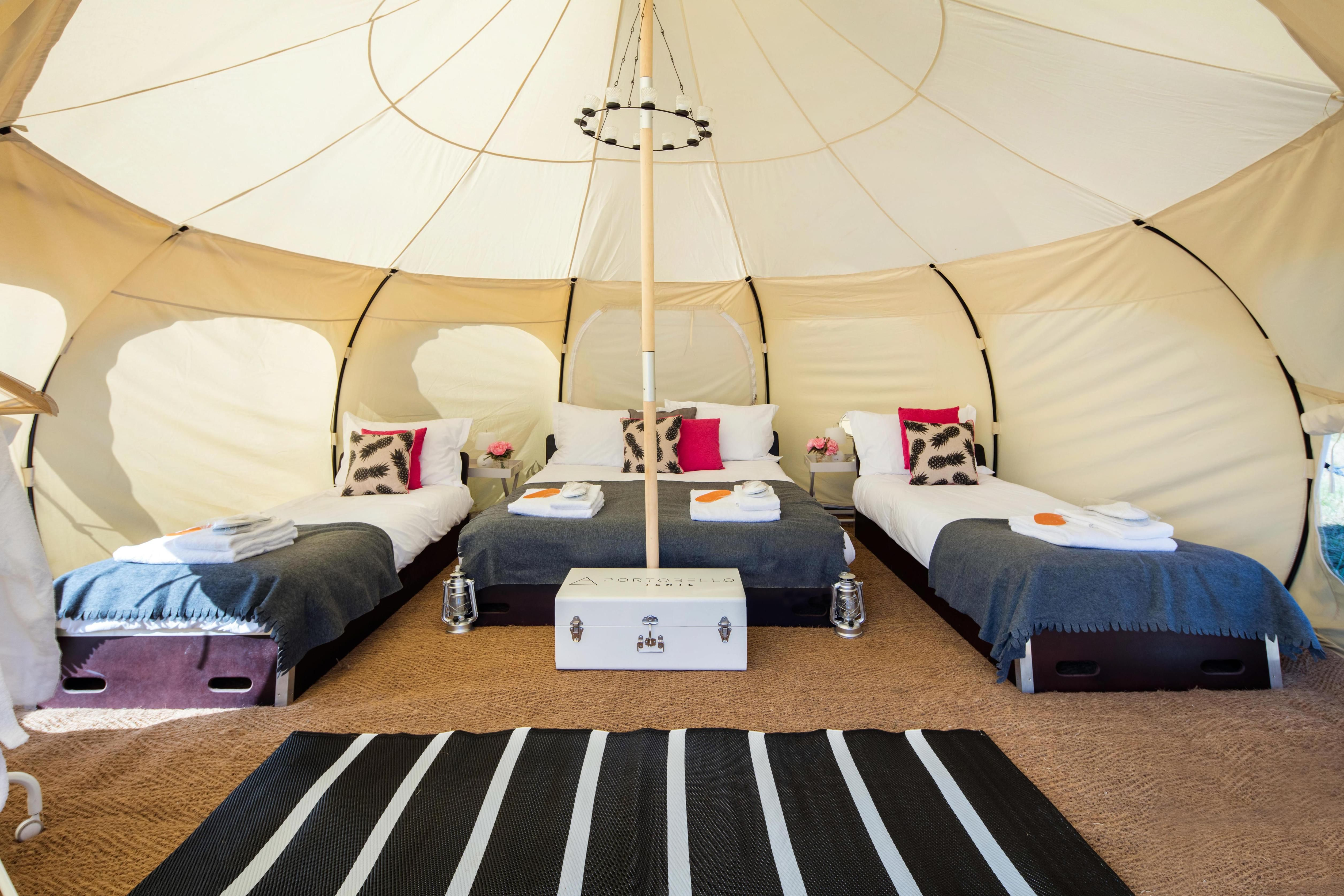 VIP Lotus Belle Tent with Family layout. A kingsize bed and two singles. & VIP Lotus Belle Tent with Family layout. A kingsize bed and two ...