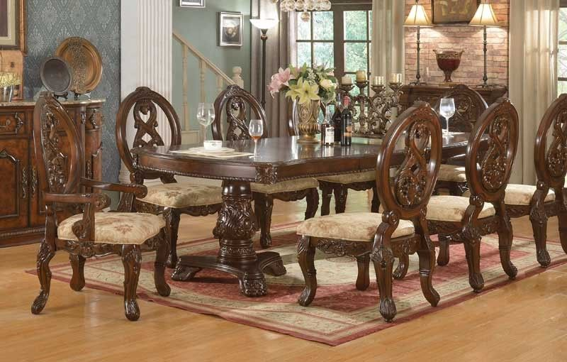 Mcferran Home Furnishings D6004 Double Pedestal Dining Table In
