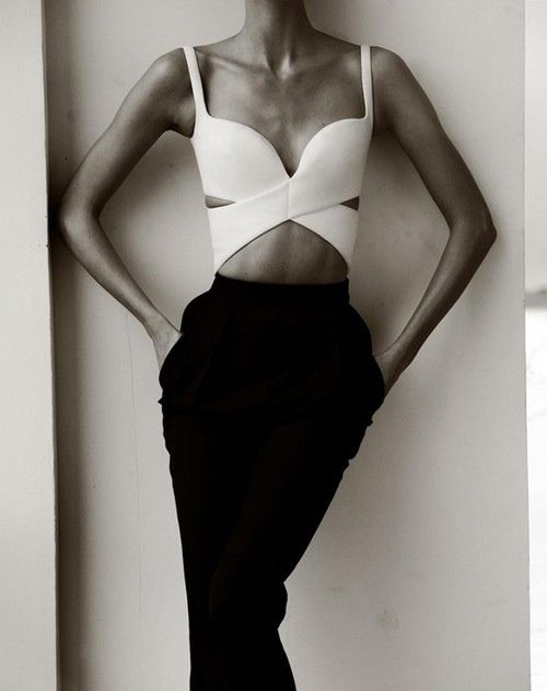 c1a0a79dca0fc White bra top with cut outs to high-waisted black tux pants coming together  in a classy elegance  3