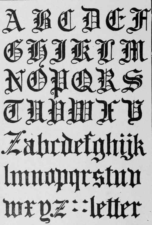 Gothic / black-letter script evolved from Carolingian in the later middle ages, circa 1200 AD, became the dominant handwriting