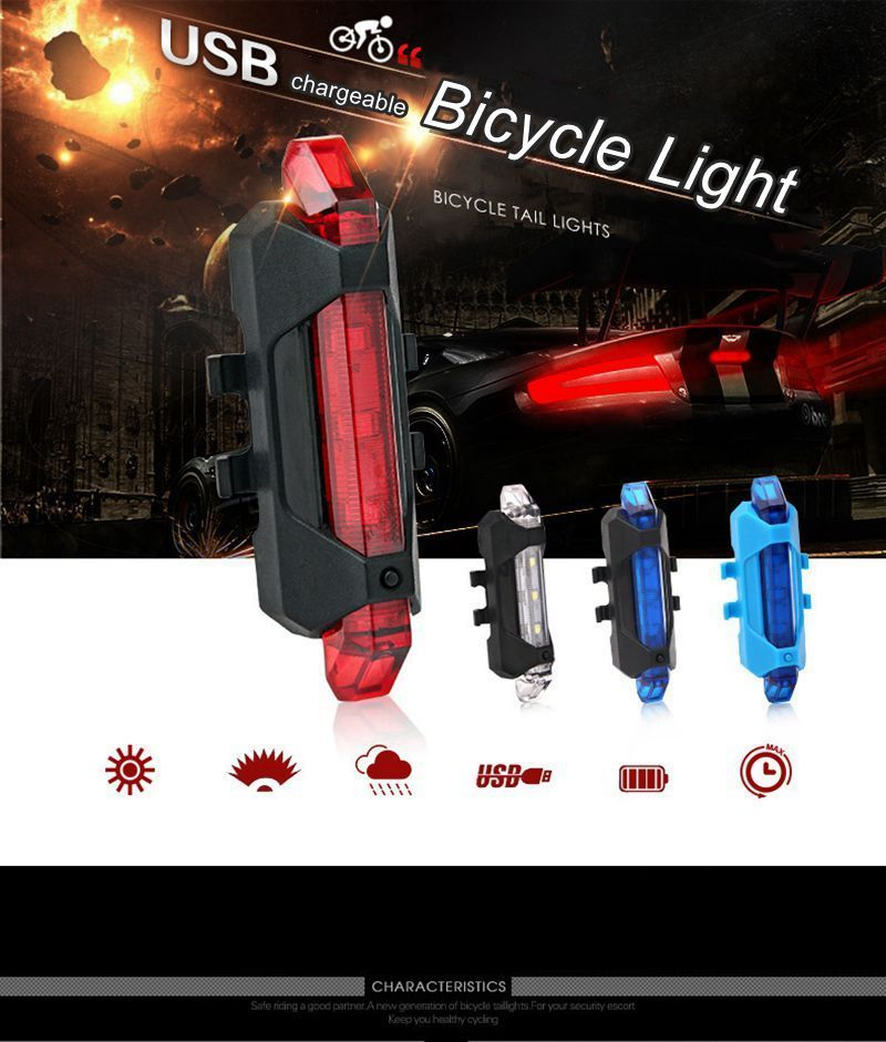 Portable USB Rechargeable Bike Tail Rear Safety Warning Light Taillight Lamp