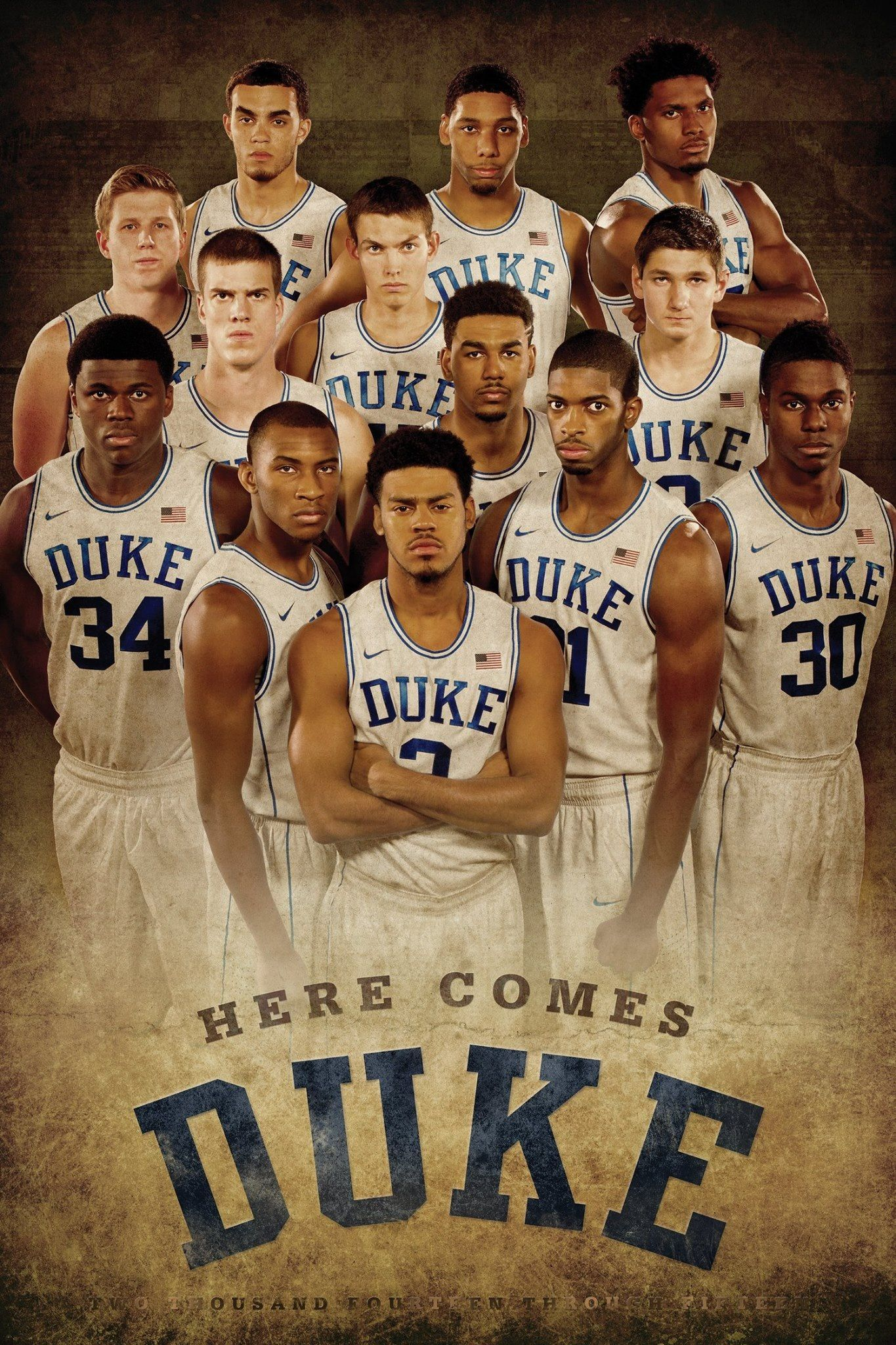 All My Boys In Blue With Bae Front And Center 2 3quinn 2014 15 Duke Basketball Basketball Team Pictures Duke Basketball Team Pictures