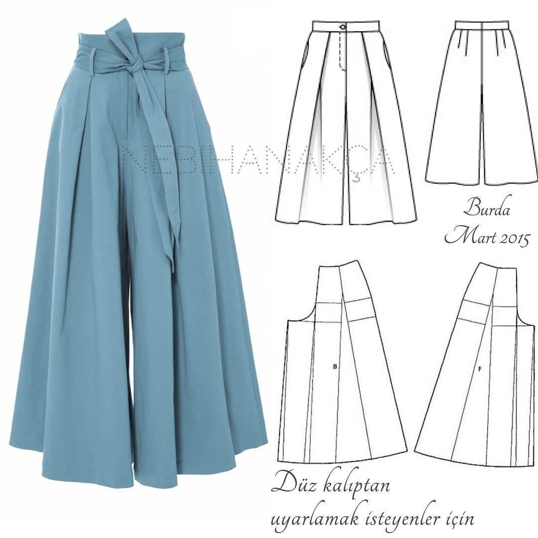 Pantalon ancho | DIY Ropa | Costura, Pantalones y Patrones