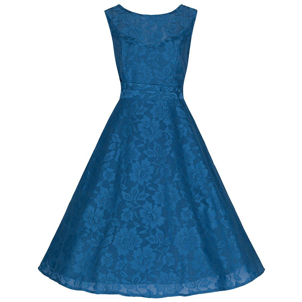 Teal blue sleeveless lace audrey swing dress swings teal and