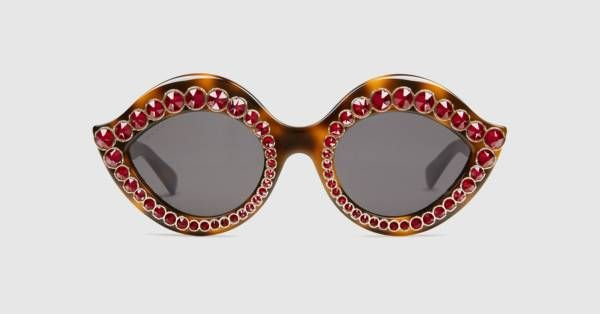 689cdfe20b2 Gucci Cat eye acetate sunglasses with crystals