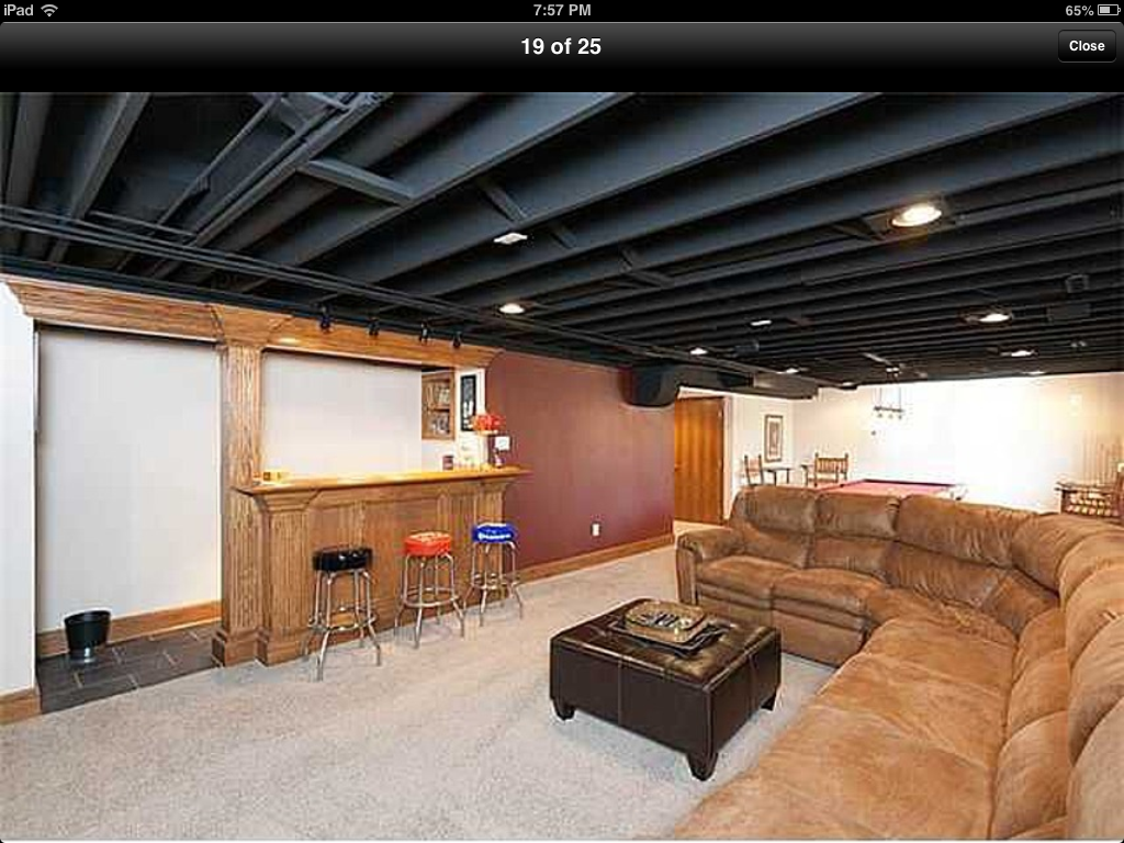 Paint Basement Rafters Add Lighting Instead Of Drop Ceiling Maintaining Room Height Basement Ceiling Painted Basement Ceiling Basement Ceiling Ideas Cheap