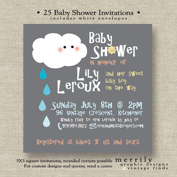 Baby Shower Shower Theme Invitations By Merrilydesigns On Etsy