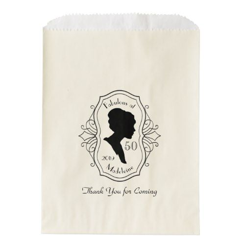 Silhouette Fifty Fab Woman: Fabulous At Fifty Cameo Lady Silhouette Dusty Pink Favor