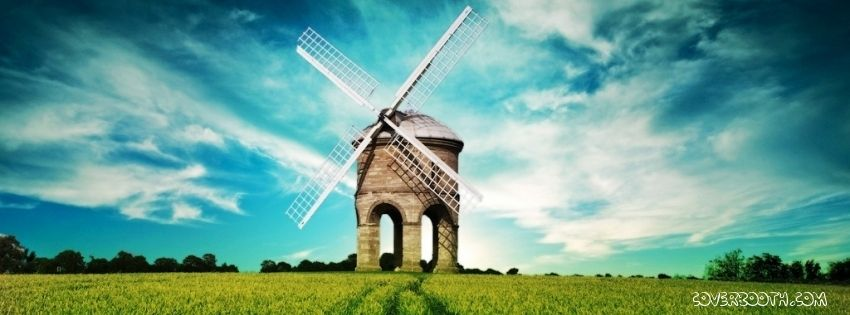 Beautiful Facebook Timeline Cover Of A Windmill On Green Grassland With Sky Blue