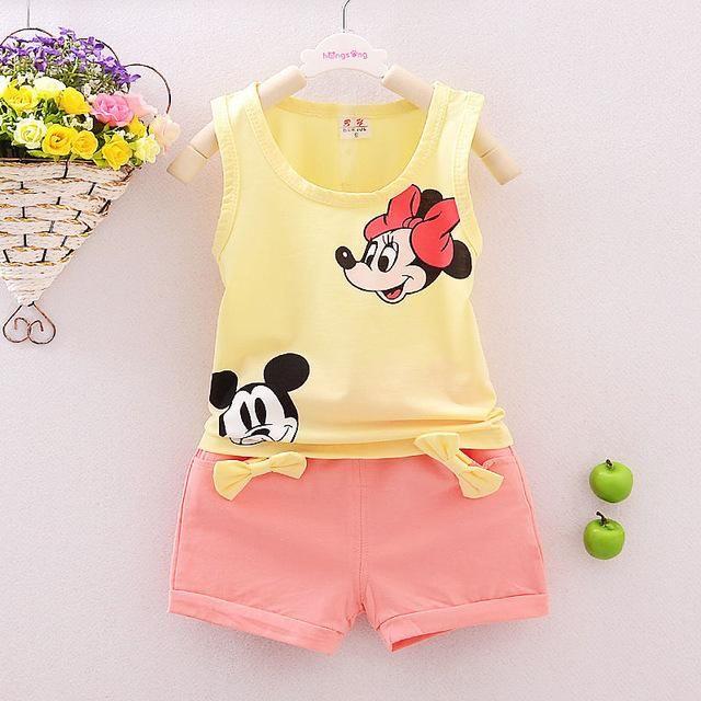 d6957c2e1ddd Summer Cute Cartoon 2PCS Kids Baby Girls Floral Vest Top Shorts ...