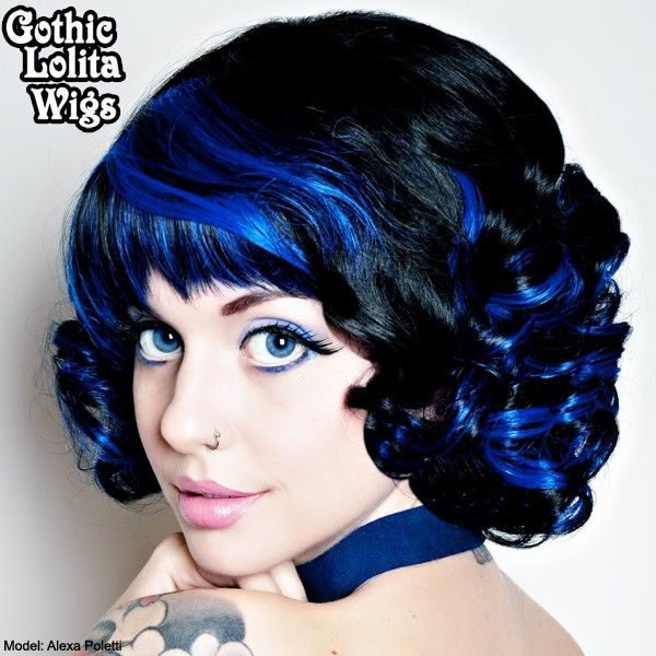 Curly short cobalt and black blend wig at Gothic Lolita. I only purchase wigs from them, great quality at a great price. $38.00