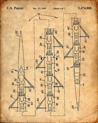 8 Man Rowing S Scull Patent Print - Patent Art Print - Patent ...