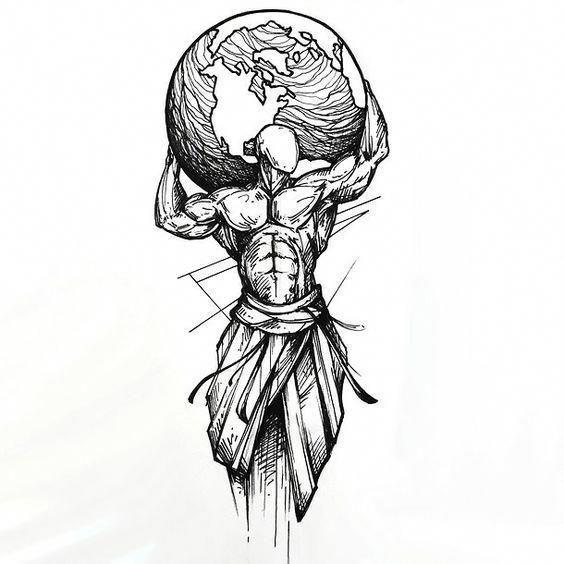 Die beste Tattoo-Idee im Sketch-Stil. Ein Mann, der die ganze Erde auf der Schulter hält … #Tattoos – DIY Tattoo Bilder – Best Tattoo   – Tattoo