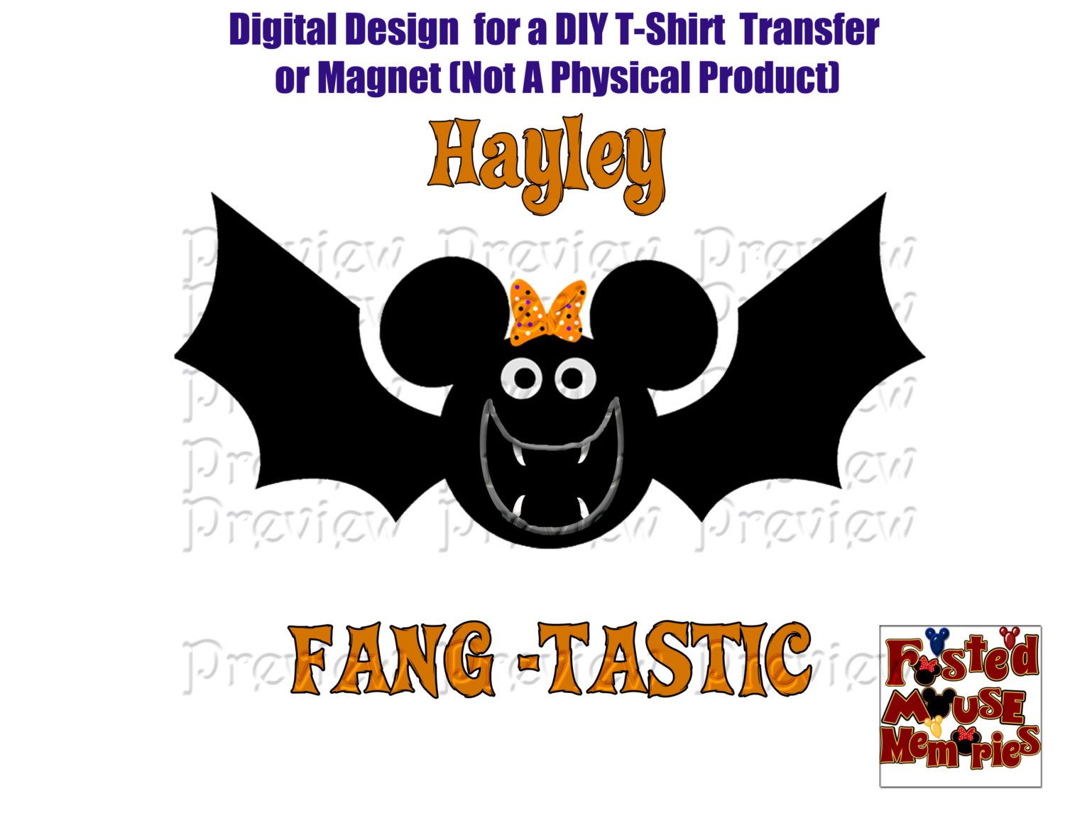 printable halloween shirt transfer or magnet disney halloween iron on girl mouse bat by frostedmousememories on etsy
