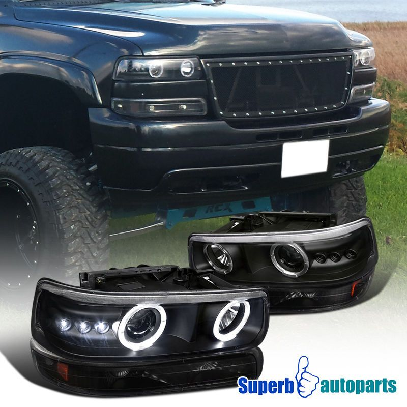 High Quality Black Led Projector Headlights W Dual Halo Rings And Per Signal Lights With Clear Lens Amber Reflector 2000 2006 Chevy Tahoe