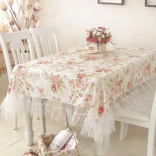 White Romance Oblong Tablecloth. Shabby StyleShabby Chic ...