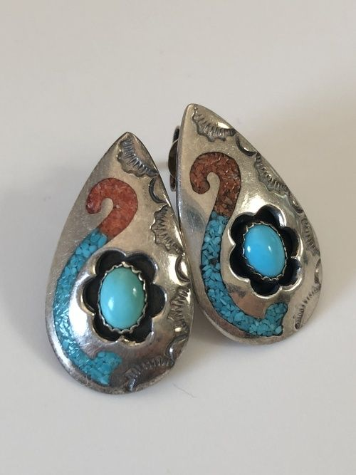 Circle J.W. Sterling Silver Turquoise & Coral Inlay ...