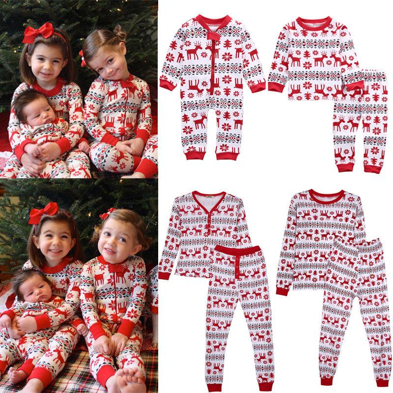 Family Matching Christmas Pajamas Set Men/'s Women Baby Kids Sleepwear Nightwear