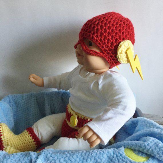 Crochet Flash Hat, Diaper Cover, Flash Inspired Hat ...