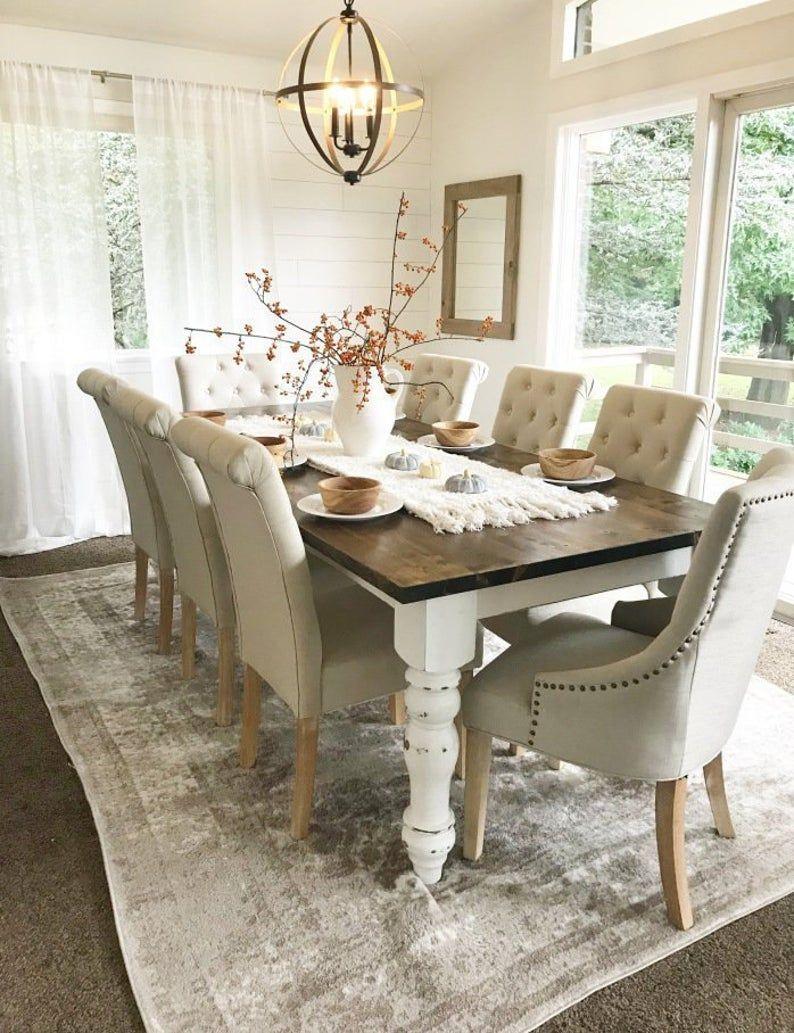 Farmhouse Table, Rustic Farm Table, Farmhouse Dining Table, Farm Kitchen Table, Custom Farmhouse Table, Spindle Leg Farm Table - All Sizes!