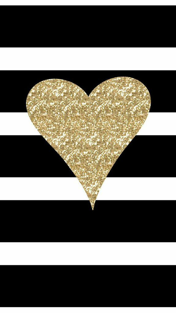Freebie Adorable New IPhone 6 Wallpaper Black White Stripes With Gold Glitter Heart