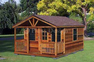 Shed With Porch Plans | 20u0027 X 16u0027 Cabin Shed With Porch Project Plans
