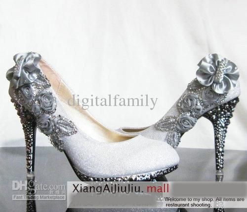 cheap newest womens fashion heels crystal flower silver red dress wedding shoes size us8