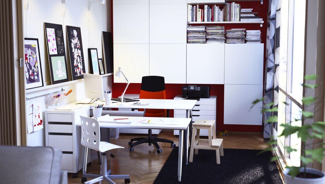 Arbeitszimmer gestaltungsideen ikea  Arbeitsplatz mit GALANT Schreibtischen weiß/verchromt, VOLMAR ...