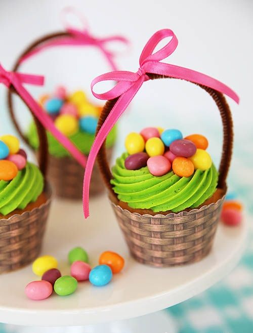 Easter basket cupcakes easter pinterest easter baskets cute easter cupcake idea with free printable basket cupcake wrapper negle Choice Image