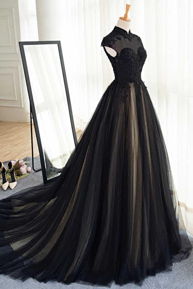 Black Prom Dresses High Neck Sweep Brush Train Rhinestone Prom Dress Evening Dress Jkl394 Prom Dresses Modest Tulle Evening Dress Gowns [ 1200 x 800 Pixel ]