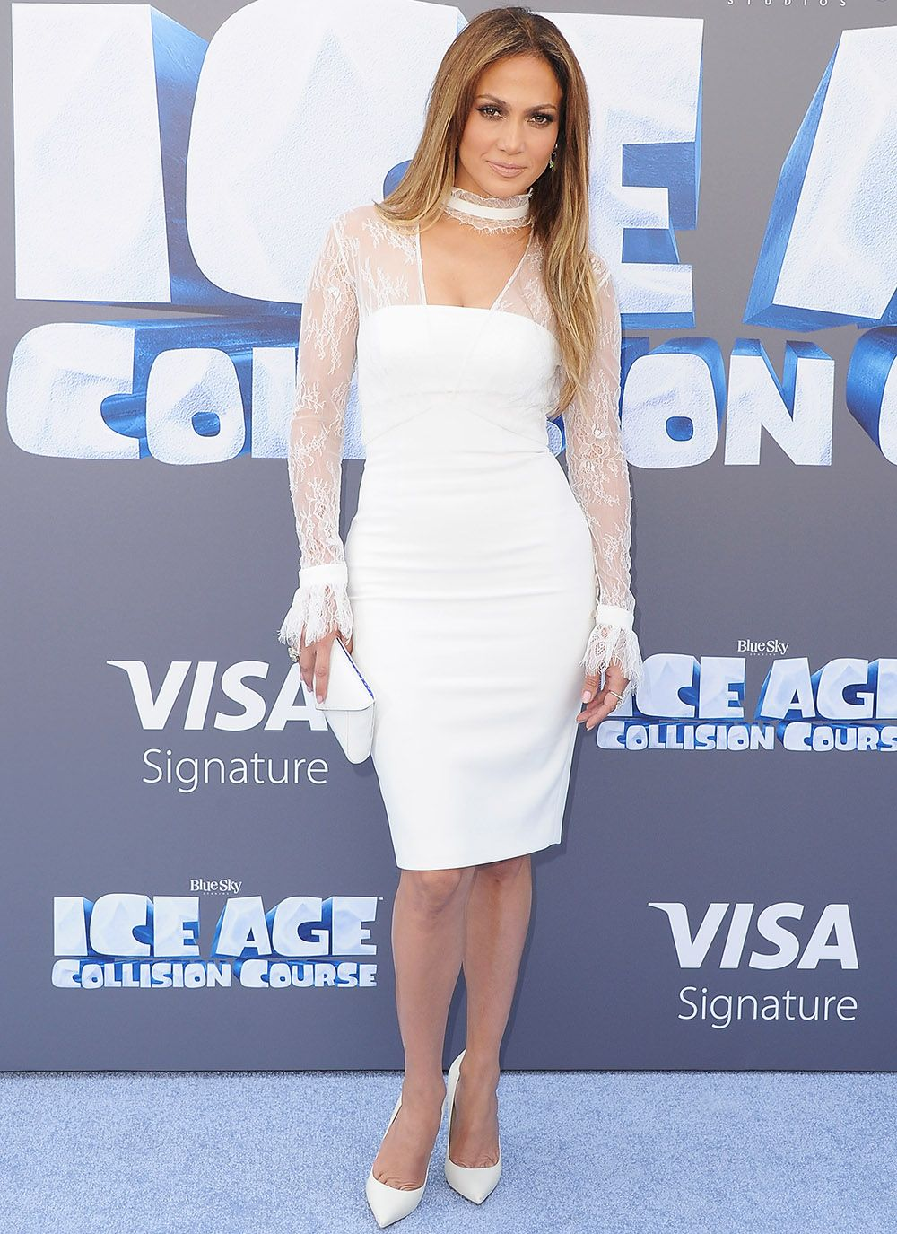 Jennifer Lopez Looks Ageless in White Lace at Ice Age Premiere   from InStyle.com