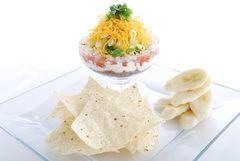 Layered Black Bean Dip and Chips. Great for healthy entertaining or a quick snack for you .