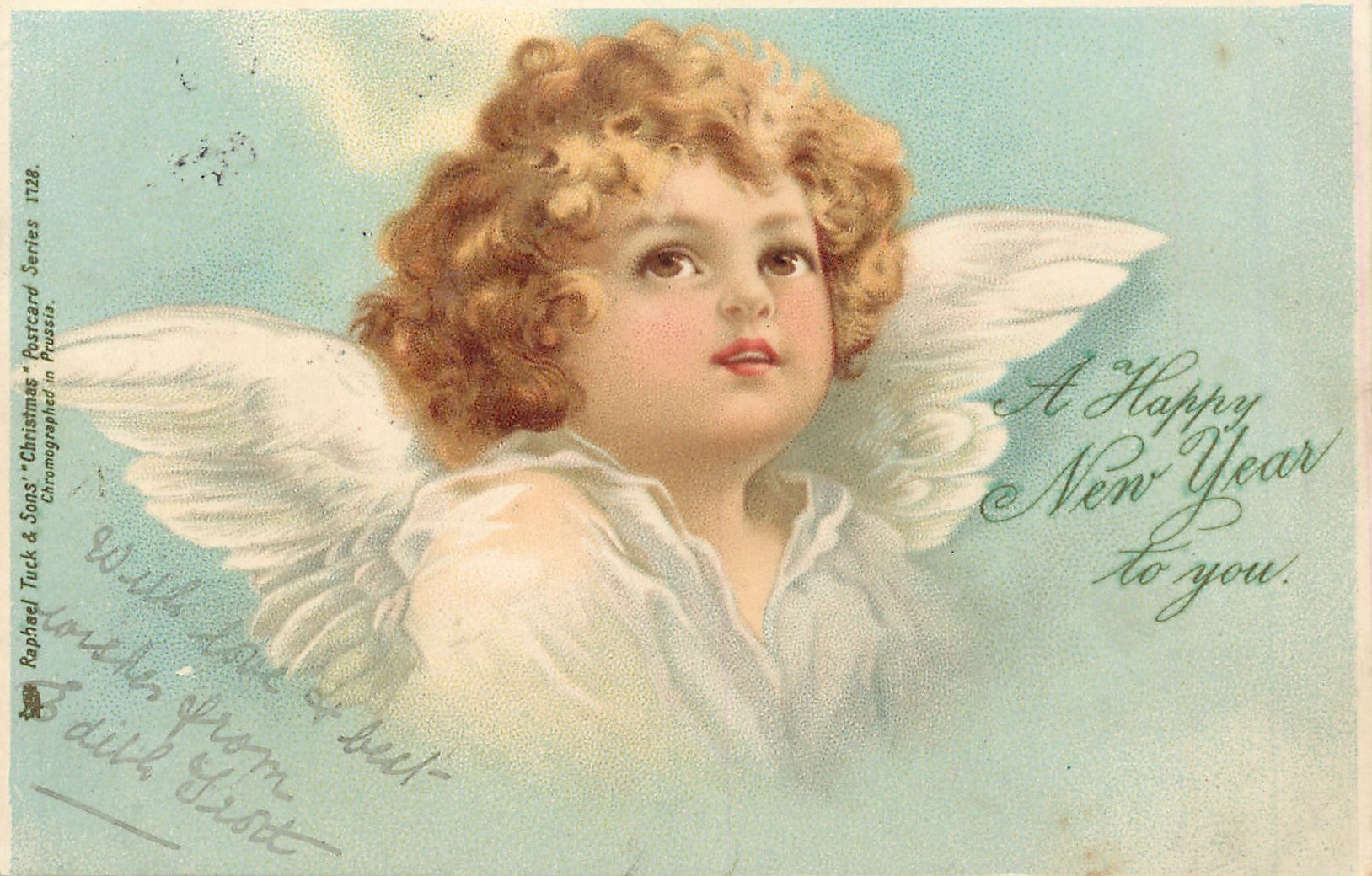 a happy new year to you brown eyed angel faces slight right looking